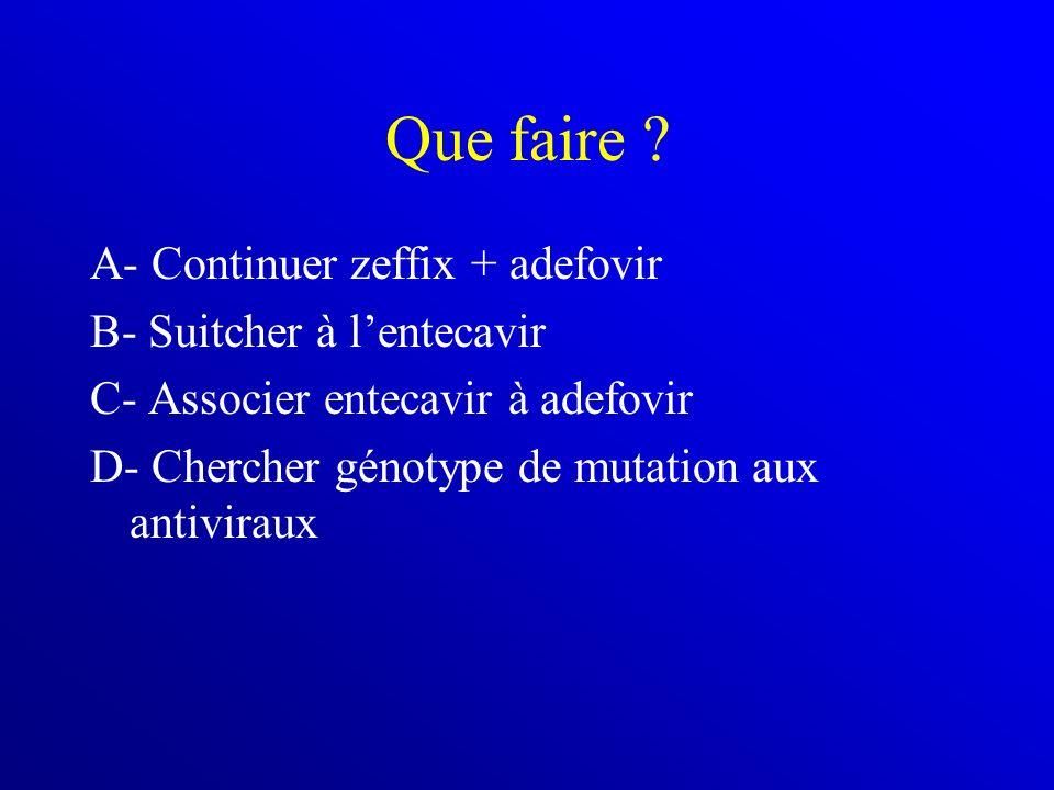 Que faire ? A- Continuer zeffix + adefovir B- Suitcher à lentecavir C- Associer entecavir à adefovir D- Chercher génotype de mutation aux antiviraux