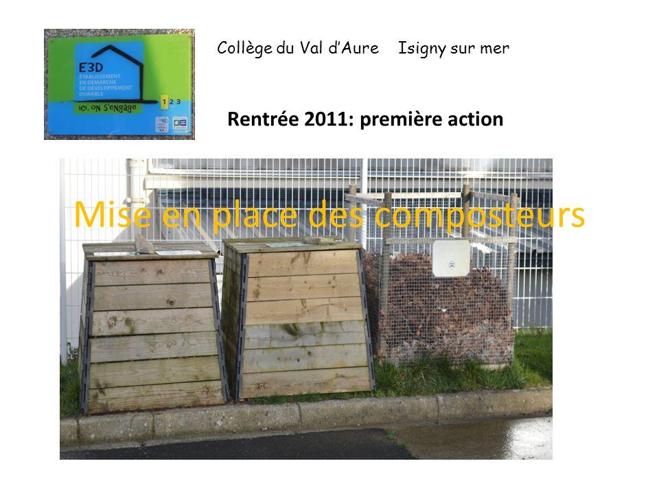 Mise en place des composteurs Collège du Val dAure Isigny sur mer Rentrée 2011: première action