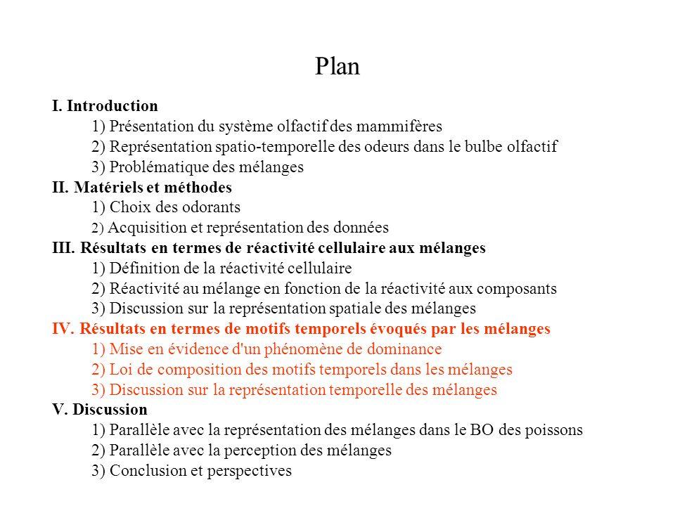 Plan I. Introduction 1) Présentation du système olfactif des mammifères 2) Représentation spatio-temporelle des odeurs dans le bulbe olfactif 3) Probl