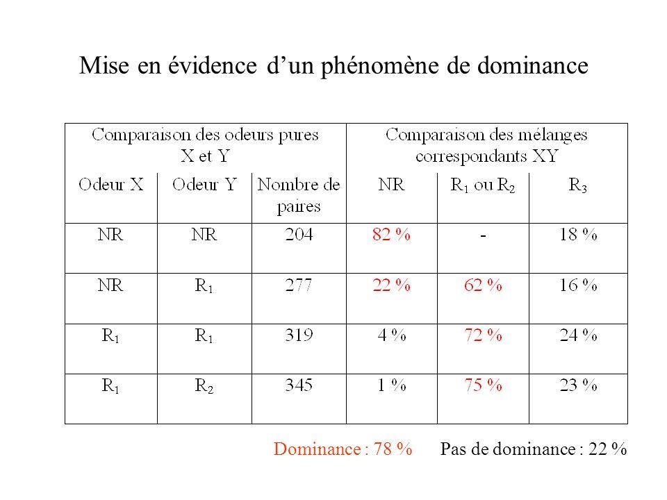 Mise en évidence dun phénomène de dominance Dominance : 78 %Pas de dominance : 22 %