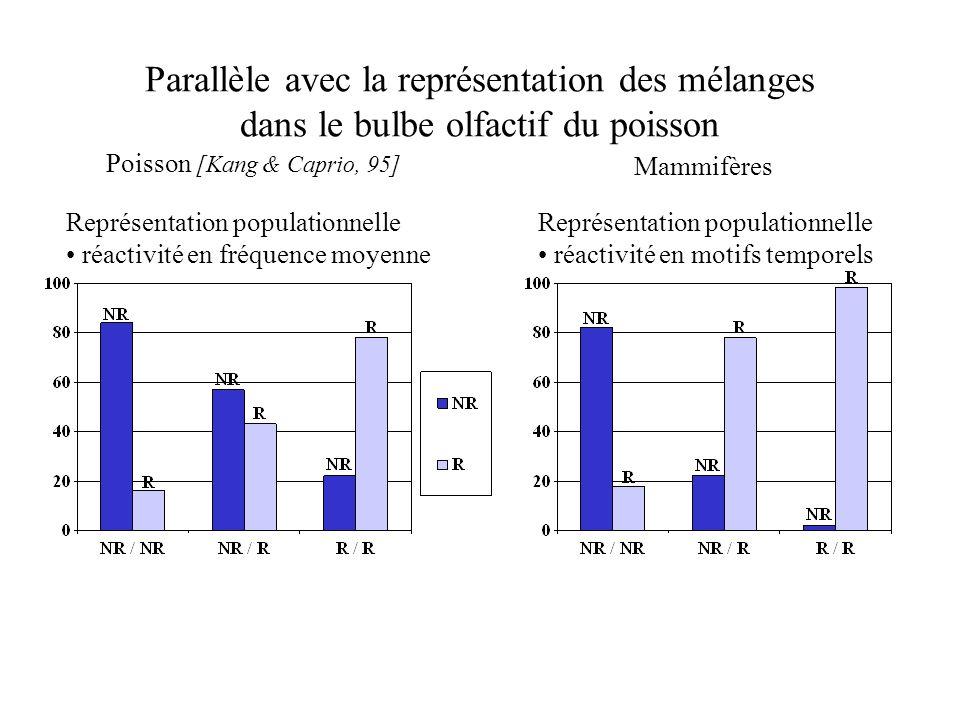 Parallèle avec la représentation des mélanges dans le bulbe olfactif du poisson Poisson [Kang & Caprio, 95] Représentation populationnelle réactivité