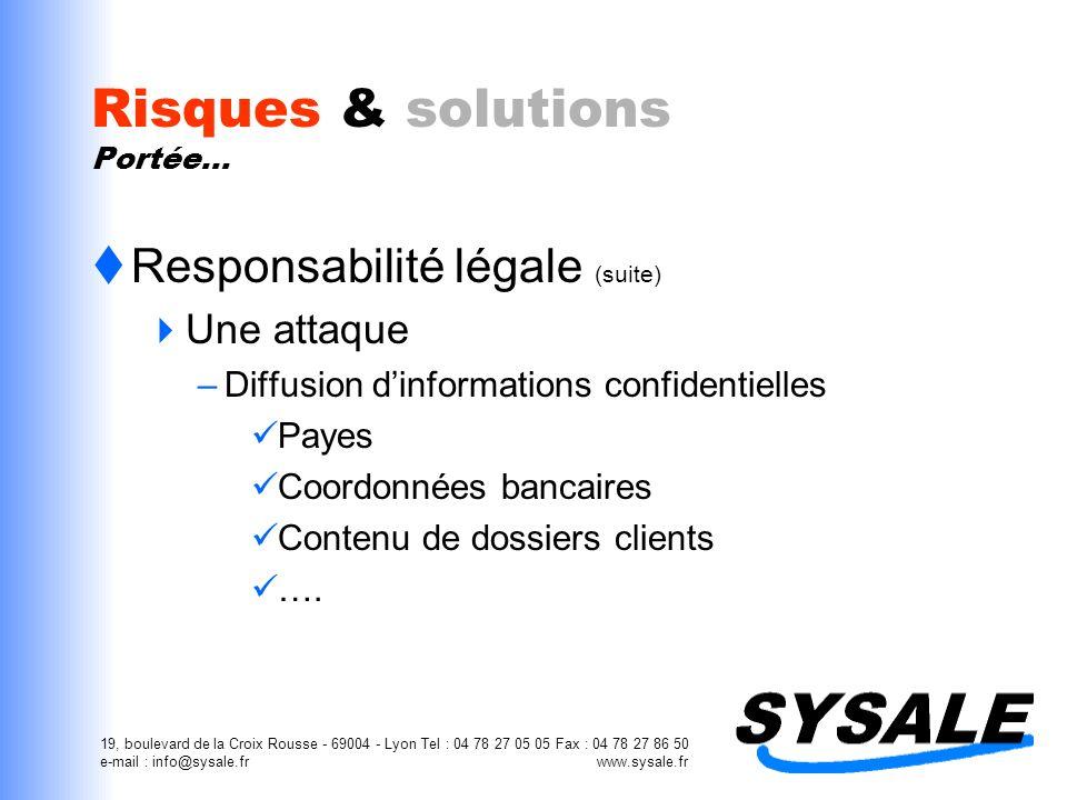 19, boulevard de la Croix Rousse - 69004 - Lyon Tel : 04 78 27 05 05 Fax : 04 78 27 86 50 e-mail : info@sysale.fr www.sysale.fr Risques & solutions Po