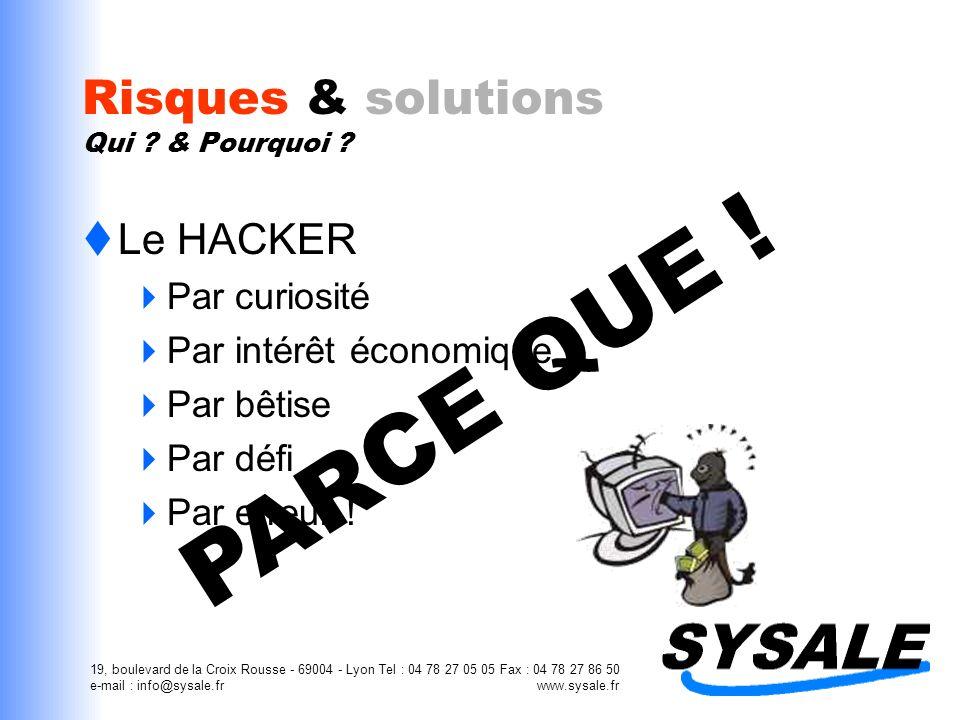 19, boulevard de la Croix Rousse - 69004 - Lyon Tel : 04 78 27 05 05 Fax : 04 78 27 86 50 e-mail : info@sysale.fr www.sysale.fr Risques & solutions Qu