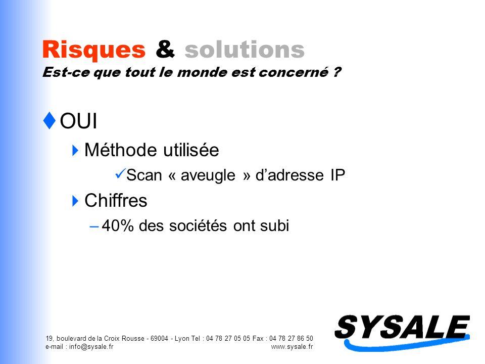 19, boulevard de la Croix Rousse - 69004 - Lyon Tel : 04 78 27 05 05 Fax : 04 78 27 86 50 e-mail : info@sysale.fr www.sysale.fr Risques & solutions Es