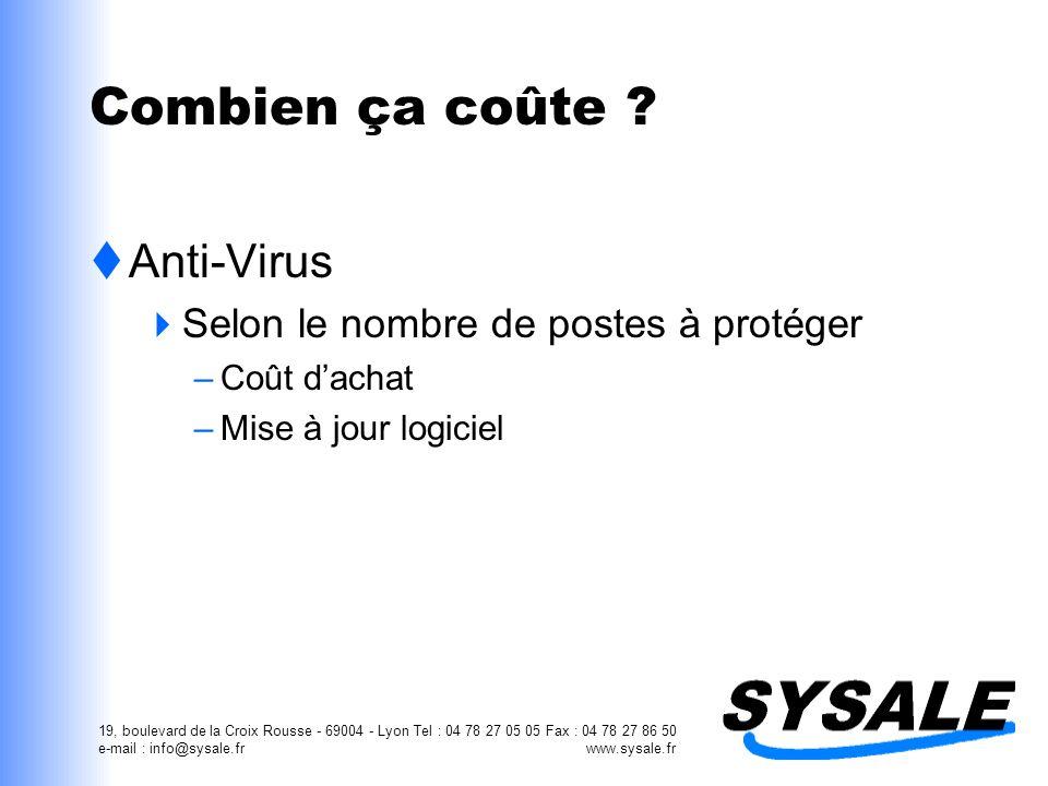 19, boulevard de la Croix Rousse - 69004 - Lyon Tel : 04 78 27 05 05 Fax : 04 78 27 86 50 e-mail : info@sysale.fr www.sysale.fr Combien ça coûte ? Ant