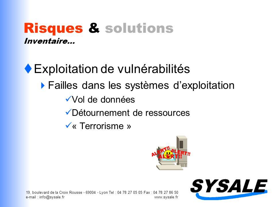 19, boulevard de la Croix Rousse - 69004 - Lyon Tel : 04 78 27 05 05 Fax : 04 78 27 86 50 e-mail : info@sysale.fr www.sysale.fr Combien ça coûte .