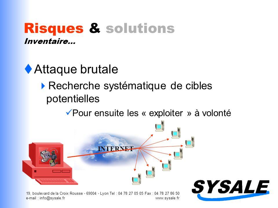 19, boulevard de la Croix Rousse - 69004 - Lyon Tel : 04 78 27 05 05 Fax : 04 78 27 86 50 e-mail : info@sysale.fr www.sysale.fr