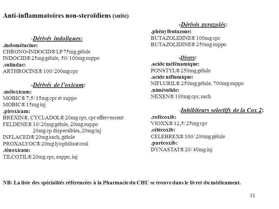 11 Anti-inflammatoires non-steroïdiens (suite) -Dérivés indoliques:.indométacine: CHRONO-INDOCID® LP 75mg gélule INDOCID® 25mg gélule, 50/ 100mg suppo.sulindac: ARTHROCINE® 100/ 200mg cpr -Dérivés de loxicam:.méloxicam: MOBIC® 7,5/ 15mg cpr et suppo MOBIC® 15mg inj.piroxicam: BREXIN®, CYCLADOL® 20mg cpr, cpr effervescent FELDENE® 10/ 20mg gélule, 20mg suppo 20mg cp dispersibles, 20mg inj INFLACED® 20mg sach, gélule PROXALYOC® 20mg lyophilisat oral.ténoxicam: TILCOTIL® 20mg cpr, suppo, inj NB: La liste des spécialités référencées à la Pharmacie du CHU se trouve dans le livret du médicament.
