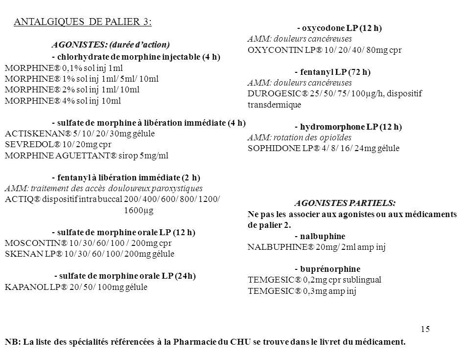 15 ANTALGIQUES DE PALIER 3: AGONISTES: (durée daction) - chlorhydrate de morphine injectable (4 h) MORPHINE® 0,1% sol inj 1ml MORPHINE® 1% sol inj 1ml/ 5ml/ 10ml MORPHINE® 2% sol inj 1ml/ 10ml MORPHINE® 4% sol inj 10ml - sulfate de morphine à libération immédiate (4 h) ACTISKENAN® 5/ 10/ 20/ 30mg gélule SEVREDOL® 10/ 20mg cpr MORPHINE AGUETTANT® sirop 5mg/ml - fentanyl à libération immédiate (2 h) AMM: traitement des accès douloureux paroxystiques ACTIQ® dispositif intra buccal 200/ 400/ 600/ 800/ 1200/ 1600µg - sulfate de morphine orale LP (12 h) MOSCONTIN® 10/ 30/ 60/ 100 / 200mg cpr SKENAN LP® 10/ 30/ 60/ 100/ 200mg gélule - sulfate de morphine orale LP (24h) KAPANOL LP® 20/ 50/ 100mg gélule NB: La liste des spécialités référencées à la Pharmacie du CHU se trouve dans le livret du médicament.