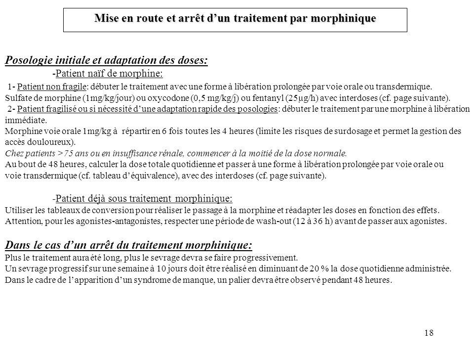 18 Mise en route et arrêt dun traitement par morphinique Posologie initiale et adaptation des doses: -Patient naïf de morphine: 1- Patient non fragile: débuter le traitement avec une forme à libération prolongée par voie orale ou transdermique.