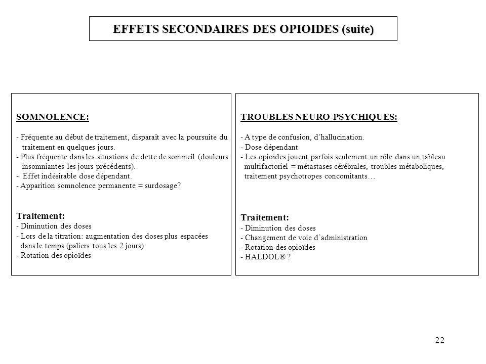 22 EFFETS SECONDAIRES DES OPIOIDES (suite ) SOMNOLENCE: - Fréquente au début de traitement, disparaît avec la poursuite du traitement en quelques jours.