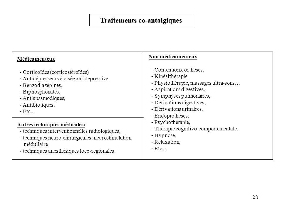 28 Traitements co-antalgiques Non médicamenteux - Contentions, orthèses, - Kinésithérapie, - Physiothérapie, massages ultra-sons… - Aspirations digestives, - Symphyses pulmonaires, - Dérivations digestives, - Dérivations urinaires, - Endoprothèses, - Psychothérapie, - Thérapie cognitivo-comportementale, - Hypnose, - Relaxation, - Etc...