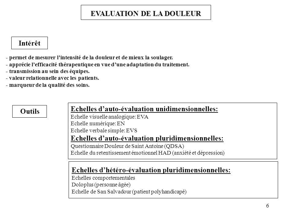 6 EVALUATION DE LA DOULEUR - permet de mesurer lintensité de la douleur et de mieux la soulager.