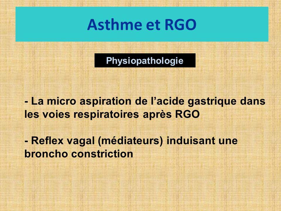 Physiopathologie - La micro aspiration de lacide gastrique dans les voies respiratoires après RGO - Reflex vagal (médiateurs) induisant une broncho constriction Asthme et RGO