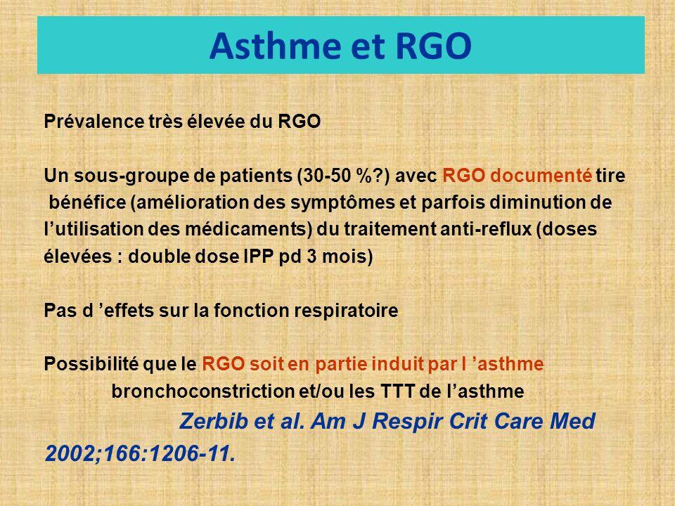 Prévalence très élevée du RGO Un sous-groupe de patients (30-50 %?) avec RGO documenté tire bénéfice (amélioration des symptômes et parfois diminution de lutilisation des médicaments) du traitement anti-reflux (doses élevées : double dose IPP pd 3 mois) Pas d effets sur la fonction respiratoire Possibilité que le RGO soit en partie induit par l asthme bronchoconstriction et/ou les TTT de lasthme Zerbib et al.