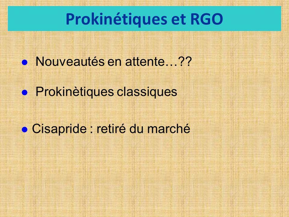 Prokinétiques et RGO Nouveautés en attente…?? Prokinètiques classiques Cisapride : retiré du marché