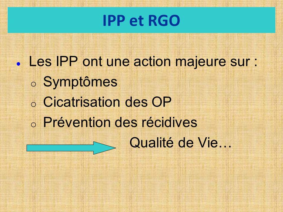 IPP et RGO Les IPP ont une action majeure sur : o o Symptômes o o Cicatrisation des OP o o Prévention des récidives Qualité de Vie…