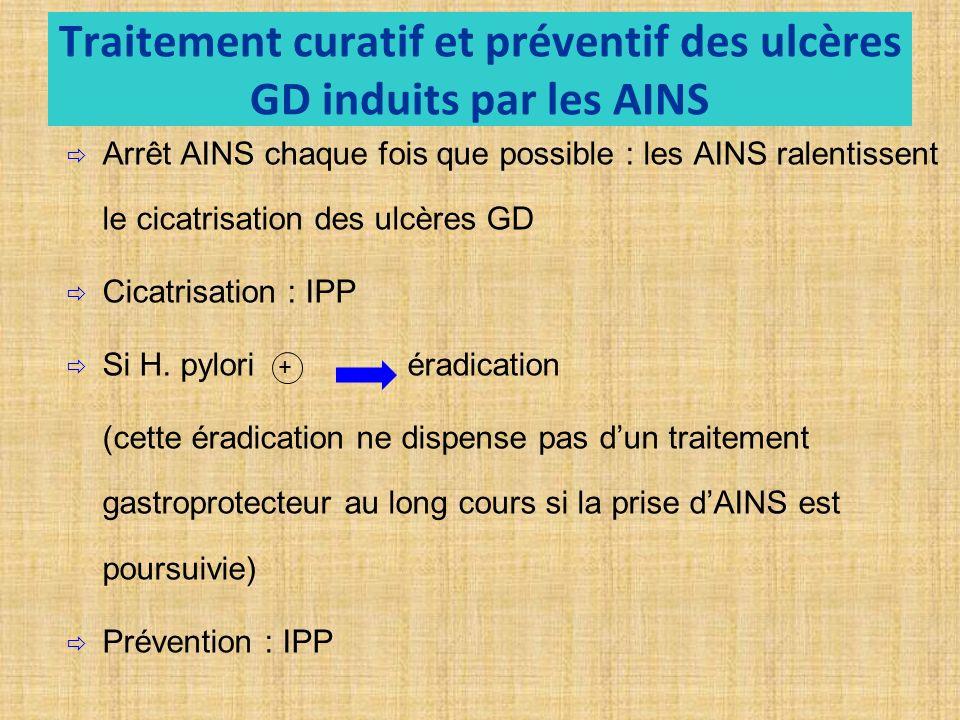 Traitement curatif et préventif des ulcères GD induits par les AINS Arrêt AINS chaque fois que possible : les AINS ralentissent le cicatrisation des ulcères GD Cicatrisation : IPP Si H.