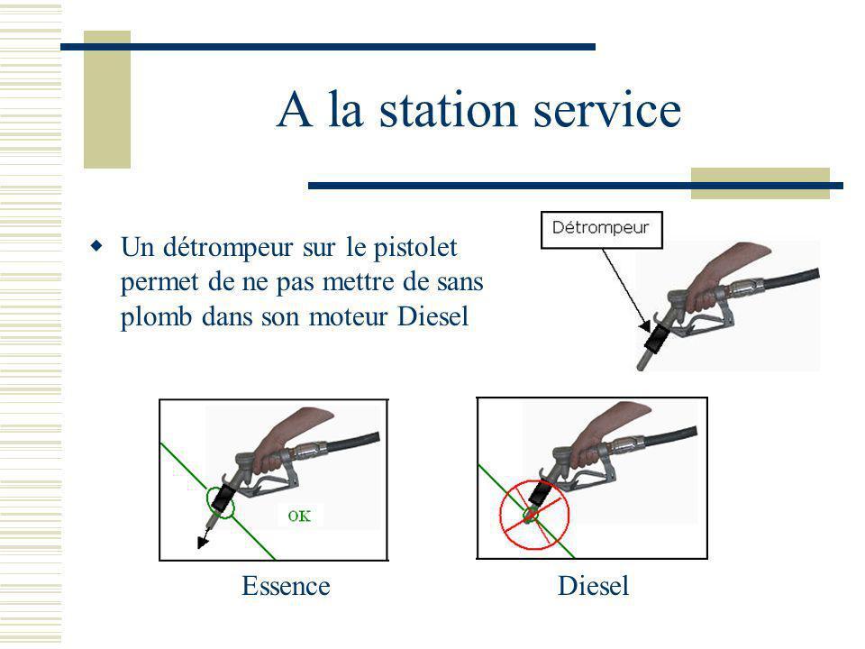 A la station service Un détrompeur sur le pistolet permet de ne pas mettre de sans plomb dans son moteur Diesel EssenceDiesel