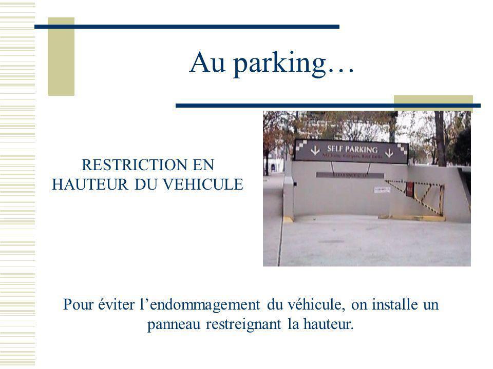 Au parking… RESTRICTION EN HAUTEUR DU VEHICULE Pour éviter lendommagement du véhicule, on installe un panneau restreignant la hauteur.