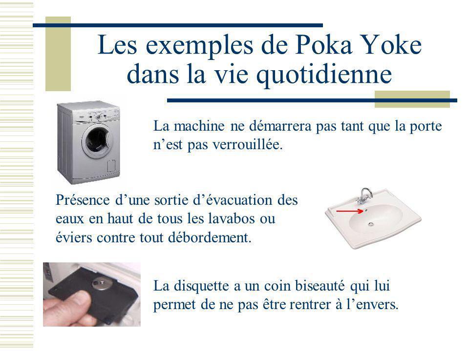 Les exemples de Poka Yoke dans la vie quotidienne La machine ne démarrera pas tant que la porte nest pas verrouillée. Présence dune sortie dévacuation