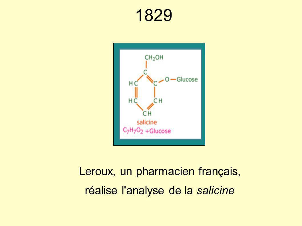 1829 Leroux, un pharmacien français, réalise l'analyse de la salicine