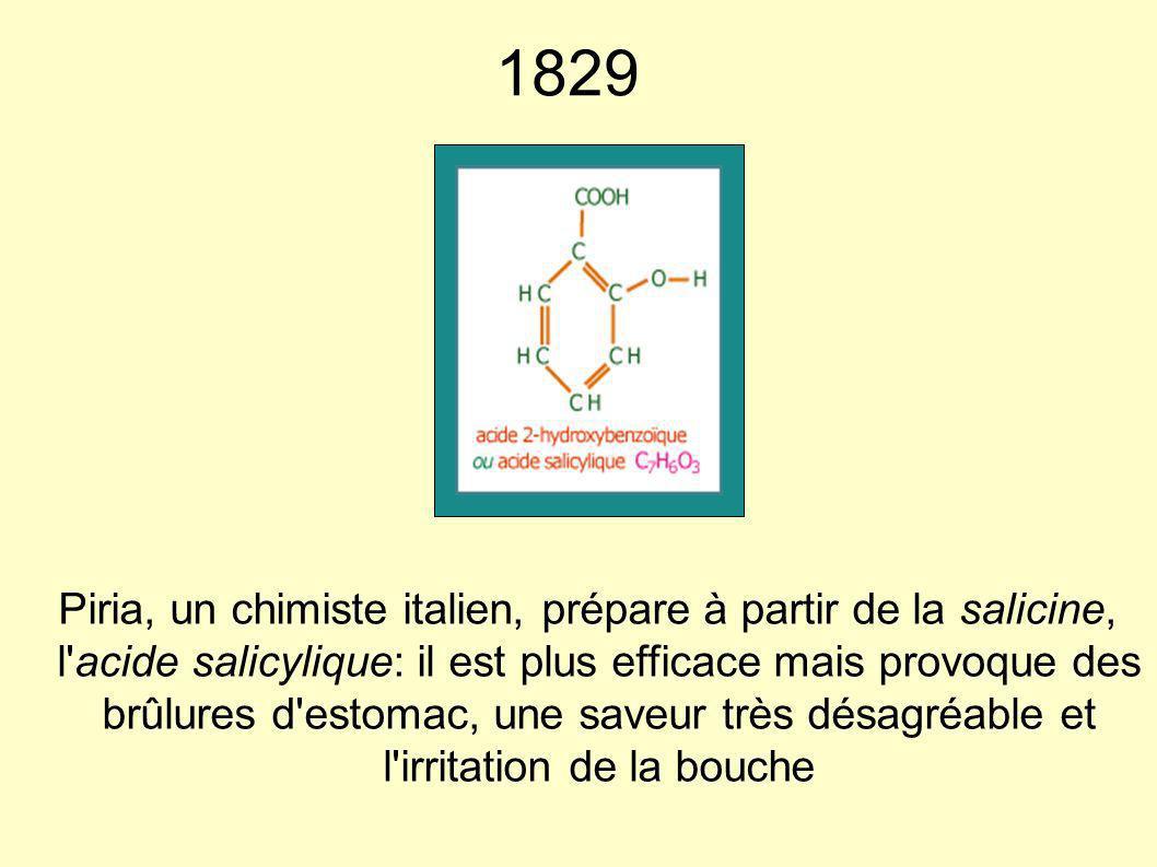 1829 Piria, un chimiste italien, prépare à partir de la salicine, l'acide salicylique: il est plus efficace mais provoque des brûlures d'estomac, une