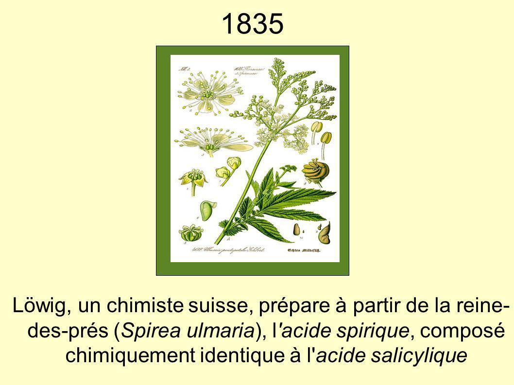 1835 Löwig, un chimiste suisse, prépare à partir de la reine- des-prés (Spirea ulmaria), l'acide spirique, composé chimiquement identique à l'acide sa
