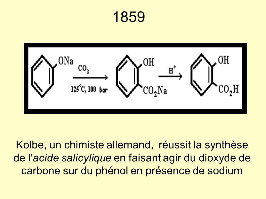 1859 Kolbe, un chimiste allemand, réussit la synthèse de l'acide salicylique en faisant agir du dioxyde de carbone sur du phénol en présence de sodium