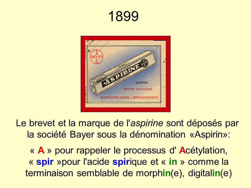 1899 Le brevet et la marque de l'aspirine sont déposés par la société Bayer sous la dénomination «Aspirin»: « A » pour rappeler le processus d' Acétyl