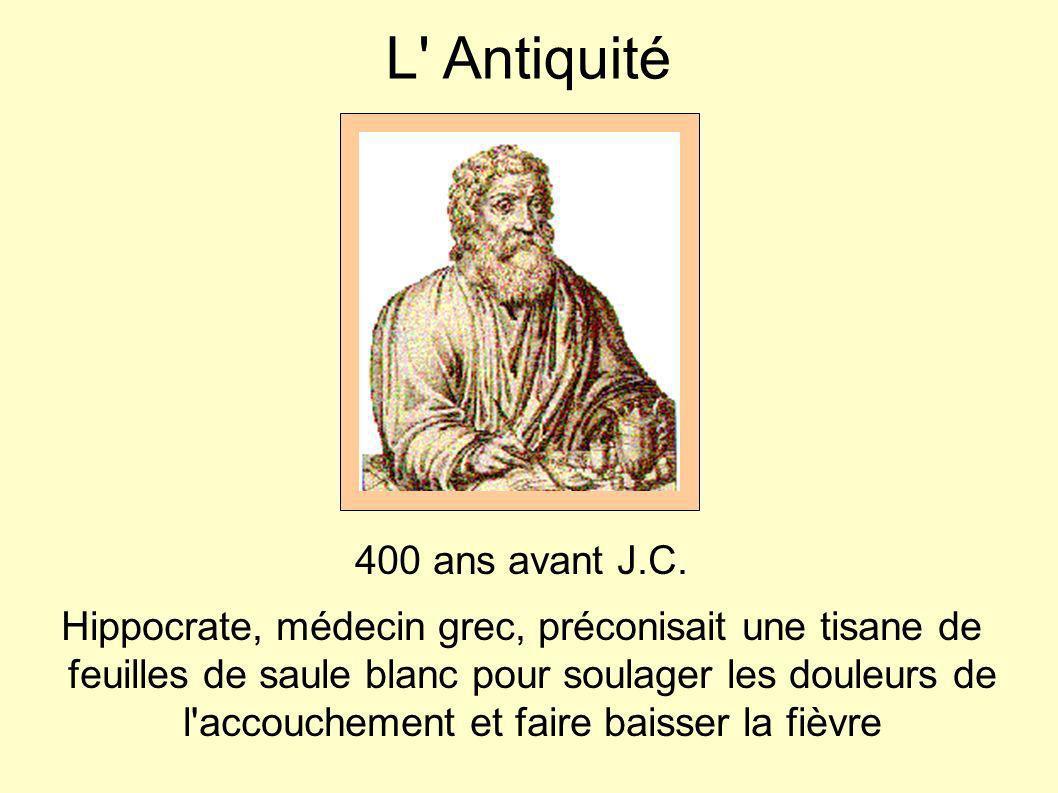 L' Antiquité 400 ans avant J.C. Hippocrate, médecin grec, préconisait une tisane de feuilles de saule blanc pour soulager les douleurs de l'accoucheme