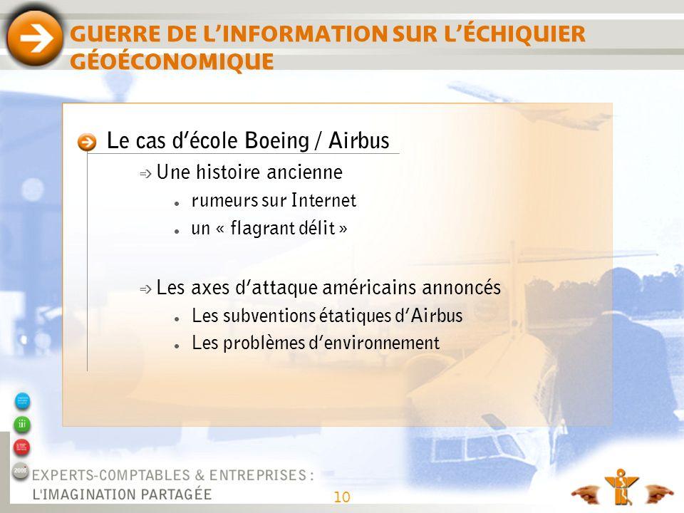 GUERRE DE LINFORMATION SUR LÉCHIQUIER GÉOÉCONOMIQUE Le cas décole Boeing / Airbus é Une histoire ancienne rumeurs sur Internet un « flagrant délit » é