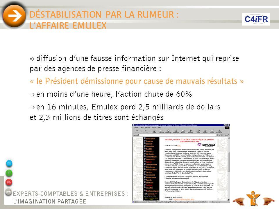 DÉSTABILISATION PAR LA RUMEUR : LAFFAIRE EMULEX é diffusion dune fausse information sur Internet qui reprise par des agences de presse financière : «