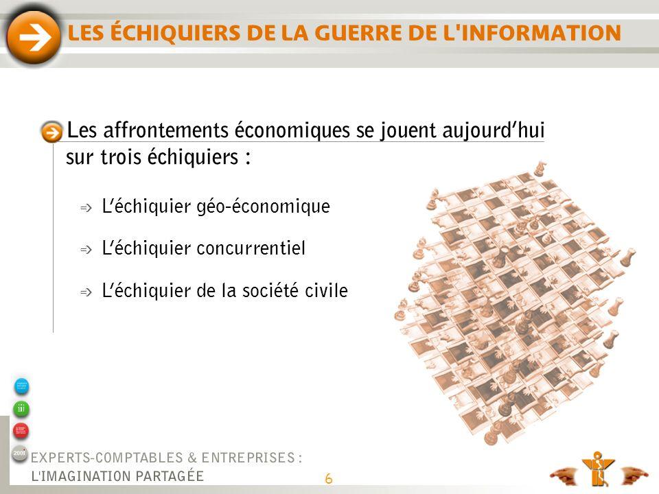 LES ÉCHIQUIERS DE LA GUERRE DE L'INFORMATION Les affrontements économiques se jouent aujourdhui sur trois échiquiers : é Léchiquier géo-économique é L
