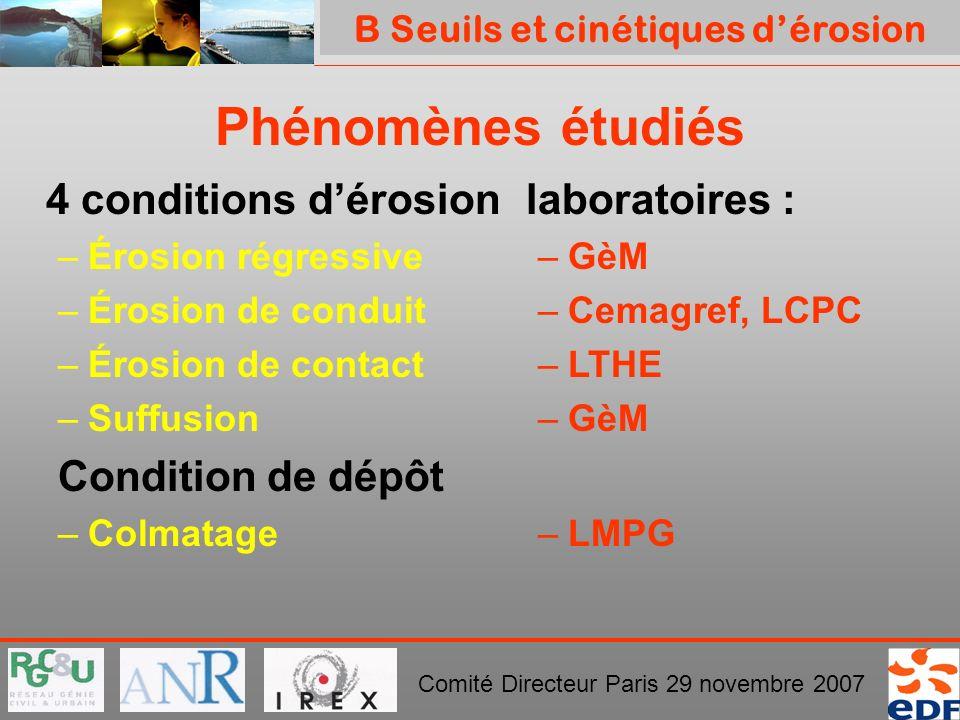 PROJET ERINOH Comité Directeur Paris 29 novembre 2007 Phénomènes étudiés 4 conditions dérosion –Érosion régressive –Érosion de conduit –Érosion de con