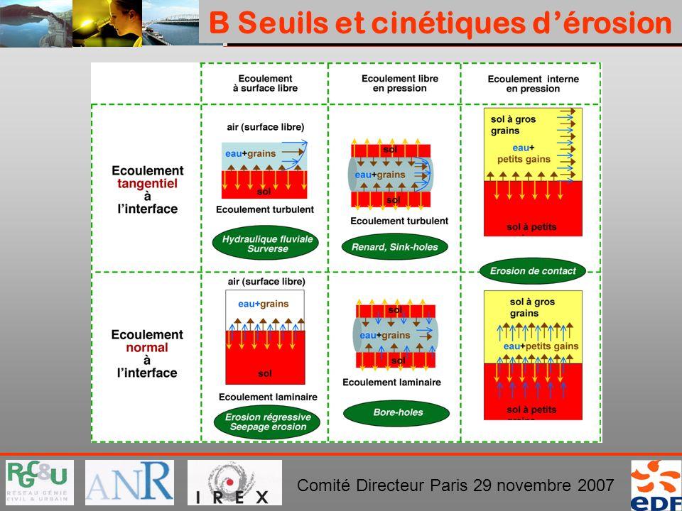 PROJET ERINOH Comité Directeur Paris 29 novembre 2007 B Seuils et cinétiques dérosion