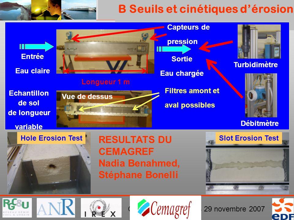 PROJET ERINOH Comité Directeur Paris 29 novembre 2007 B Seuils et cinétiques dérosion Longueur 1 m Capteurs de pression Echantillon de sol de longueur