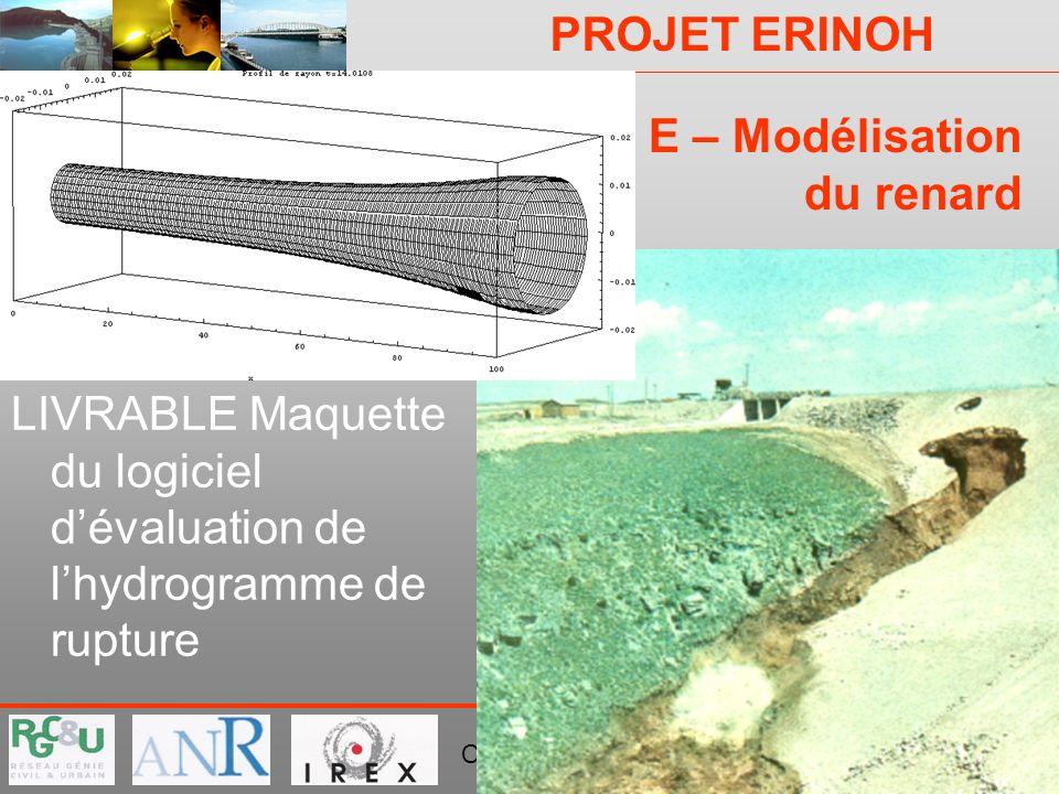 PROJET ERINOH Comité Directeur Paris 29 novembre 2007 E – Modélisation du renard LIVRABLE Maquette du logiciel dévaluation de lhydrogramme de rupture