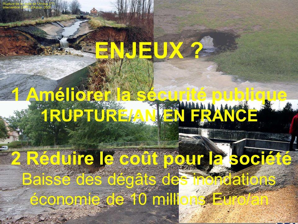 PROJET ERINOH Comité Directeur Paris 29 novembre 2007 ENJEUX ? 1 Améliorer la sécurité publique 1RUPTURE/AN EN FRANCE 2 Réduire le coût pour la sociét
