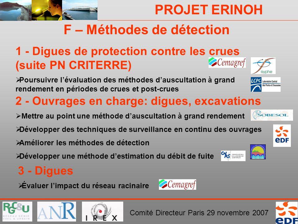 PROJET ERINOH Comité Directeur Paris 29 novembre 2007 F – Méthodes de détection 2 - Ouvrages en charge: digues, excavations Mettre au point une méthod
