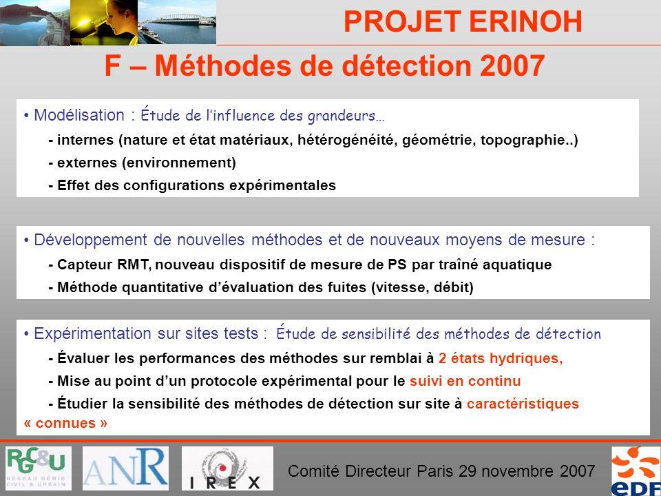 PROJET ERINOH Comité Directeur Paris 29 novembre 2007 Expérimentation sur sites tests : Étude de sensibilité des méthodes de détection - Évaluer les p