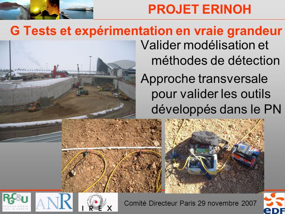 PROJET ERINOH Comité Directeur Paris 29 novembre 2007 G Tests et expérimentation en vraie grandeur Valider modélisation et méthodes de détection Appro