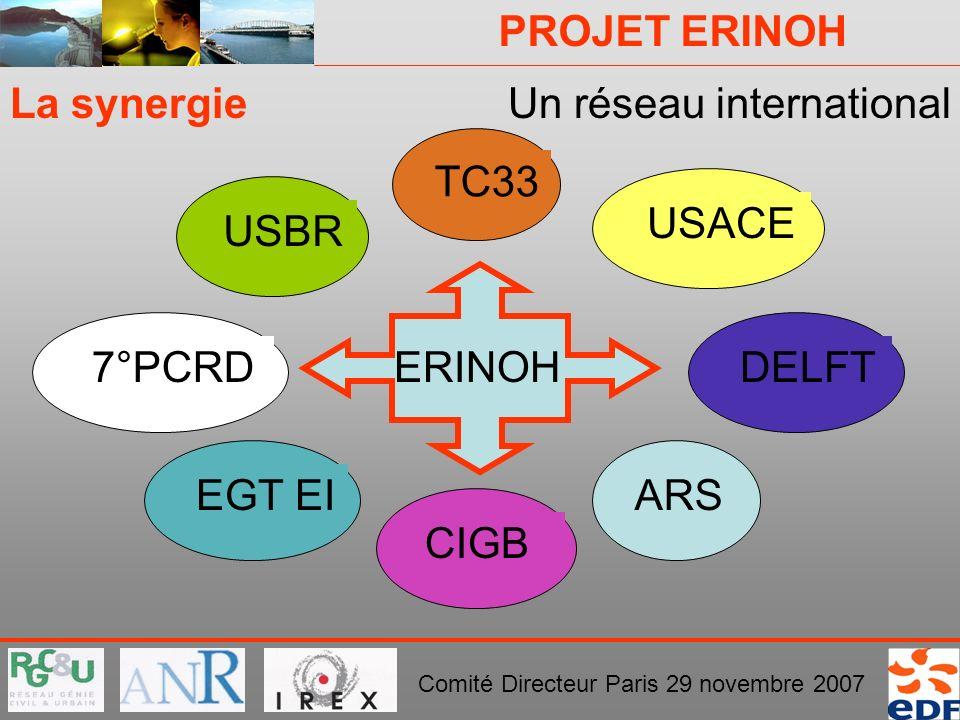 PROJET ERINOH Comité Directeur Paris 29 novembre 2007 La synergieUn réseau international TC33 ERINOH CIGBEGT EIUSBRUSACEARSDELFT7°PCRD