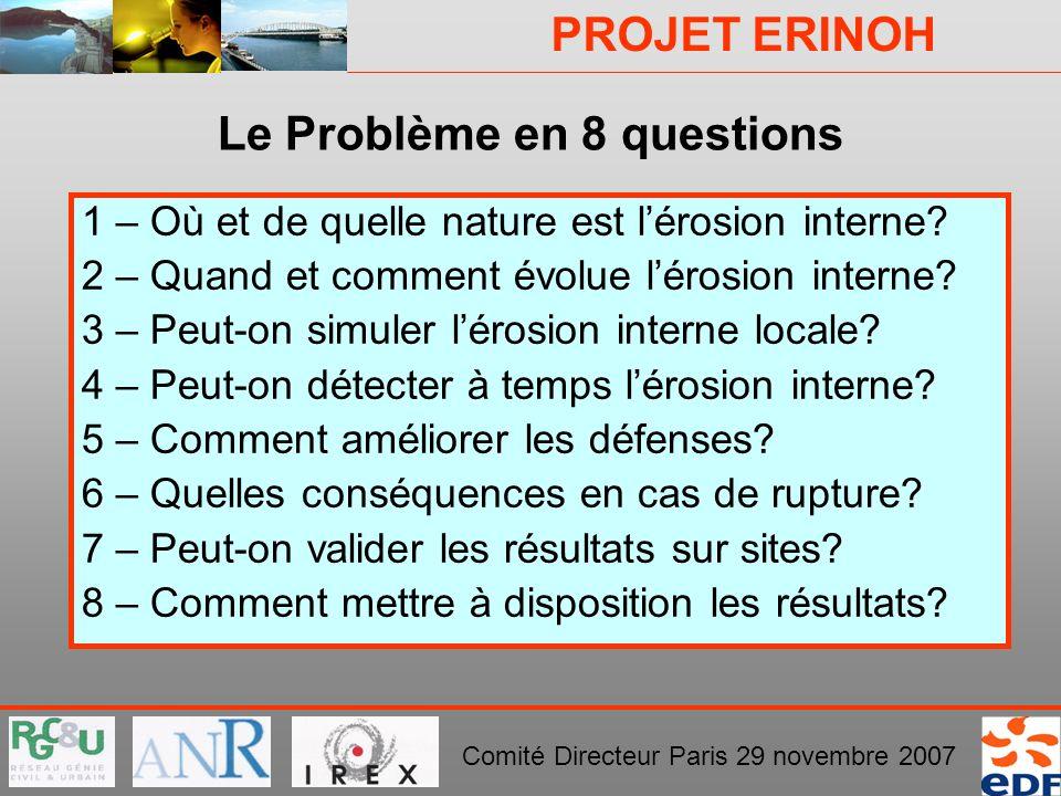 PROJET ERINOH Comité Directeur Paris 29 novembre 2007 Le Problème en 8 questions 1 – Où et de quelle nature est lérosion interne? 2 – Quand et comment
