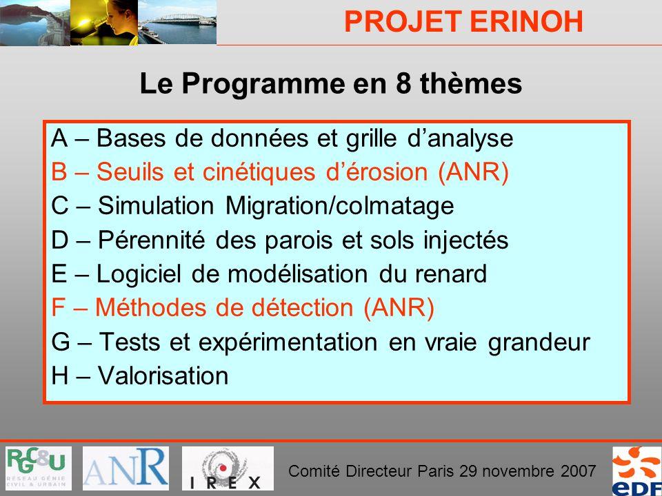 PROJET ERINOH Comité Directeur Paris 29 novembre 2007 Le Programme en 8 thèmes A – Bases de données et grille danalyse B – Seuils et cinétiques dérosi