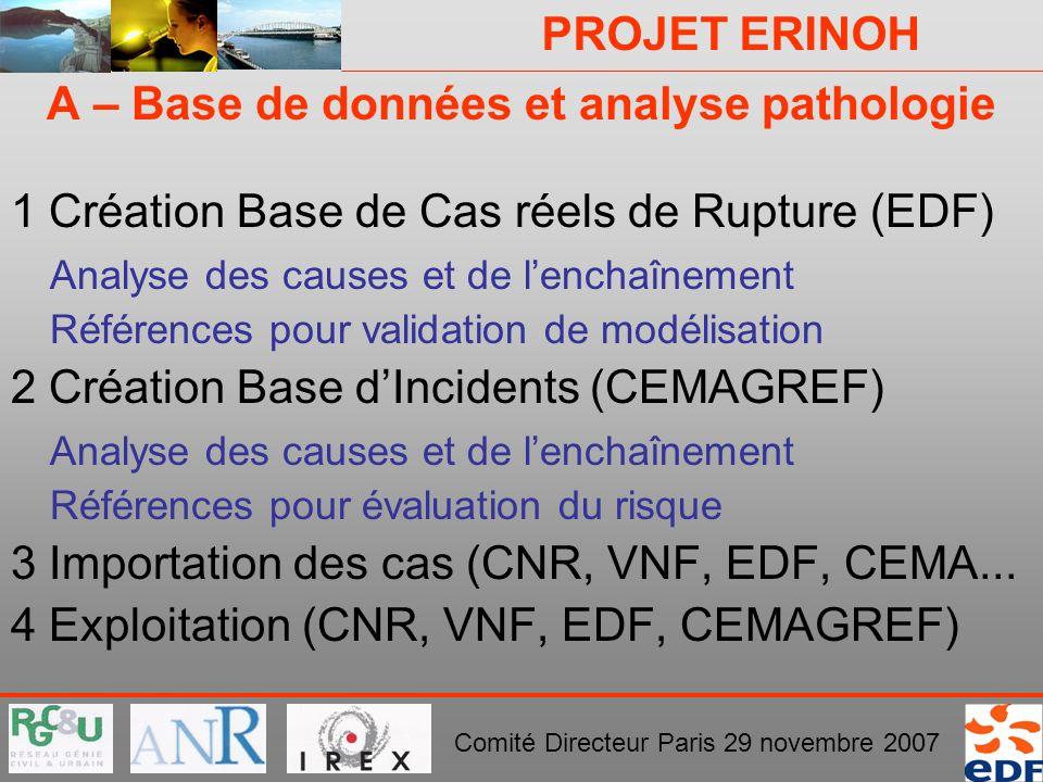 PROJET ERINOH Comité Directeur Paris 29 novembre 2007 A – Base de données et analyse pathologie 1 Création Base de Cas réels de Rupture (EDF) Analyse
