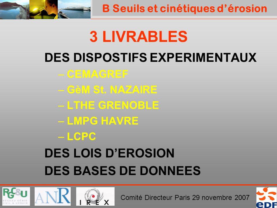 PROJET ERINOH Comité Directeur Paris 29 novembre 2007 3 LIVRABLES DES DISPOSTIFS EXPERIMENTAUX –CEMAGREF –GèM St. NAZAIRE –LTHE GRENOBLE –LMPG HAVRE –