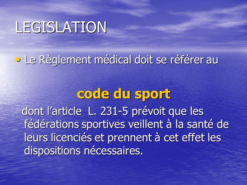 LEGISLATION Le Règlement médical doit se référer au Le Règlement médical doit se référer au code du sport dont larticle L. 231-5 prévoit que les fédér