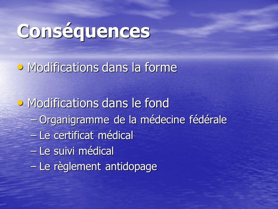 Conséquences Modifications dans la forme Modifications dans la forme Modifications dans le fond Modifications dans le fond –Organigramme de la médecin