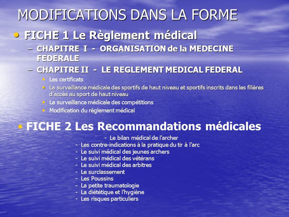 MODIFICATIONS DANS LA FORME FICHE 1 Le Règlement médical FICHE 1 Le Règlement médical –CHAPITRE I - ORGANISATION de la MEDECINE FEDERALE –CHAPITRE II